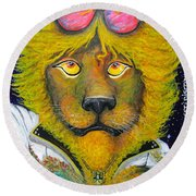 Dancing King Of The Serengeti Discotheque Round Beach Towel