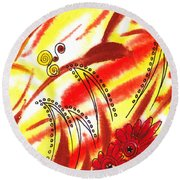 Dancing Lines And Flowers Abstract Round Beach Towel