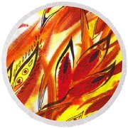 Dancing Lines Hot Abstract Round Beach Towel