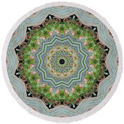 Dancing Mandevilla Blossom Kaleidoscope Round Beach Towel