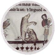 Dancing Pig, 14th Century Round Beach Towel