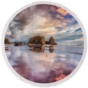 Dancing Sunset Round Beach Towel