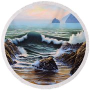 Dancing Tide Round Beach Towel