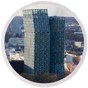 Dancing Towers Hamburg Round Beach Towel