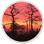 Dancing Trees Into The Fire Round Beach Towel