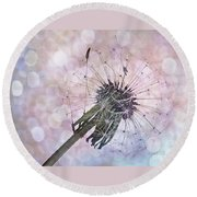 Dandelion Before Pretty Bokeh Round Beach Towel