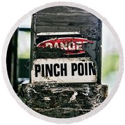 Danger Pinch Point Round Beach Towel