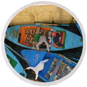 Dangerous Manouvers At The Nile River Canal Locks Round Beach Towel
