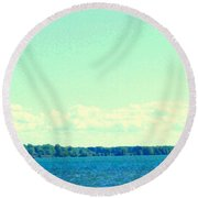 Dangerous Moonlight Red Crescent Kite Boarding Where Canal Meets Ocean Seascape Scene Carole Spandau Round Beach Towel
