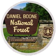 Daniel Boone Round Beach Towel by Frozen in Time Fine Art Photography