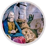 Daniel In The Lions Den Round Beach Towel by Currier and Ives