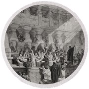 Daniel Interpreting The Writing On The Wall Round Beach Towel by Gustave Dore