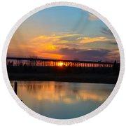 Daniel Island Sunset Round Beach Towel