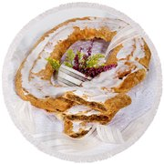 Danish Pastry Ring With Pecan Filling Round Beach Towel