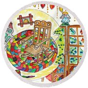 Dans Nos Vieilles Maisons / In Our Old Houses Round Beach Towel