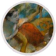Danseuse A L'eventail Round Beach Towel by Edgar Degas