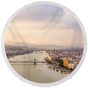 Danube Sunset Round Beach Towel