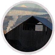 Dark Barn And Mt Mclaughlin Round Beach Towel
