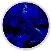 Dark Blue Leaves Round Beach Towel
