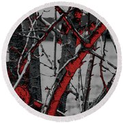 Dark Branches Round Beach Towel