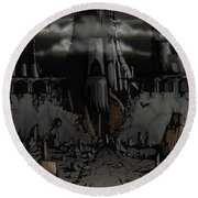 Dark Castle Round Beach Towel