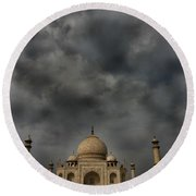 Dark Clouds Over Taj Mahal Round Beach Towel