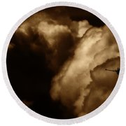 Dark Clouds Round Beach Towel