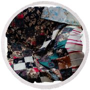Dark Colored Blocks Patchwork Quilt  Round Beach Towel