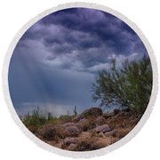 Dark Desert Skies  Round Beach Towel