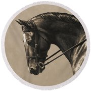 Dark Dressage Horse Aged Photo Fx Round Beach Towel