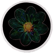Dark Flower 2 Round Beach Towel