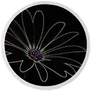 Dark Flower Round Beach Towel