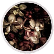 Dark Flowers Round Beach Towel