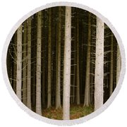 Dark Forest At Kielder Round Beach Towel