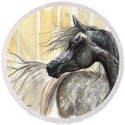 Dark Grey Arabian Horse 2014 02 17 Round Beach Towel