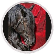 Dark Horse Against Red Dress Round Beach Towel