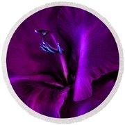 Dark Knight Purple Gladiola Flower Round Beach Towel