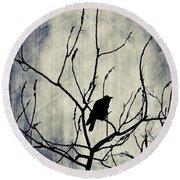 Crow In Dark Lights Round Beach Towel
