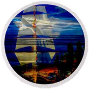 Dark Moonlight With Sails And Seagull Round Beach Towel