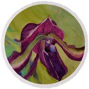 Dark Orchid Round Beach Towel