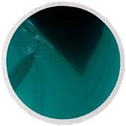 Dark Paddle Canoe Hull Silhouette Floating Round Beach Towel