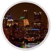 Dark Pittsburgh Skyline Round Beach Towel