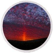 Dark Red Sunset Round Beach Towel
