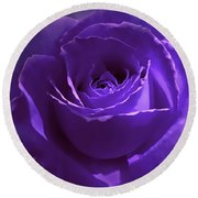 Dark Secrets Purple Rose Round Beach Towel by Jennie Marie Schell