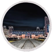 Dark Skies At Citizens Bank Park Round Beach Towel