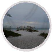Dark Skies Over The Beach Round Beach Towel