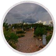 Dark Sky Over Tombstone Round Beach Towel