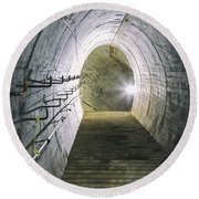 Dark Tunnel And Staircase Round Beach Towel