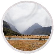 Dart River Valley Rain Clouds Mt Aspiring Np Nz Round Beach Towel