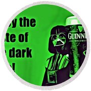 Darth Drinks Guinness Round Beach Towel